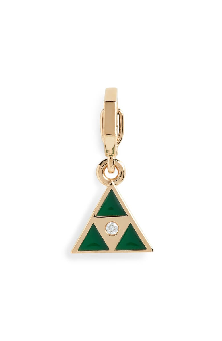 HARWELL GODFREY Open Bale Triangle Enhancer Pendant with Diamond, Main, color, YELLOW GOLD/ GREEN