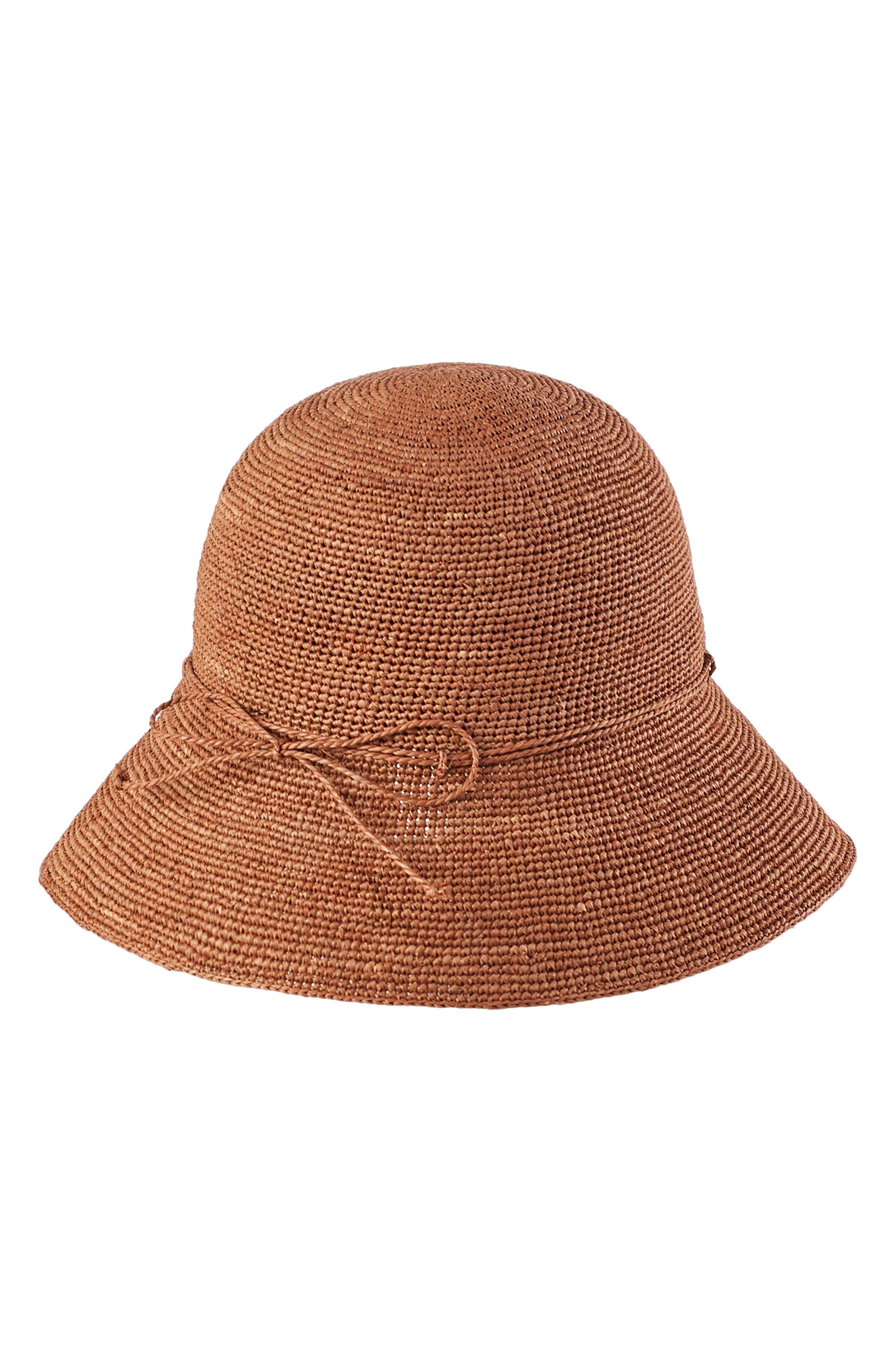 ,                             '9 Villa' Raffia Straw Hat,                             Alternate thumbnail 2, color,                             DARK MAPLE