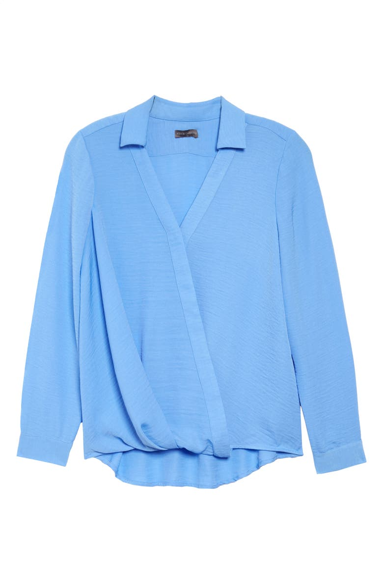 VINCE CAMUTO Wrap Front Rumple Twill Blouse, Main, color, LAKE