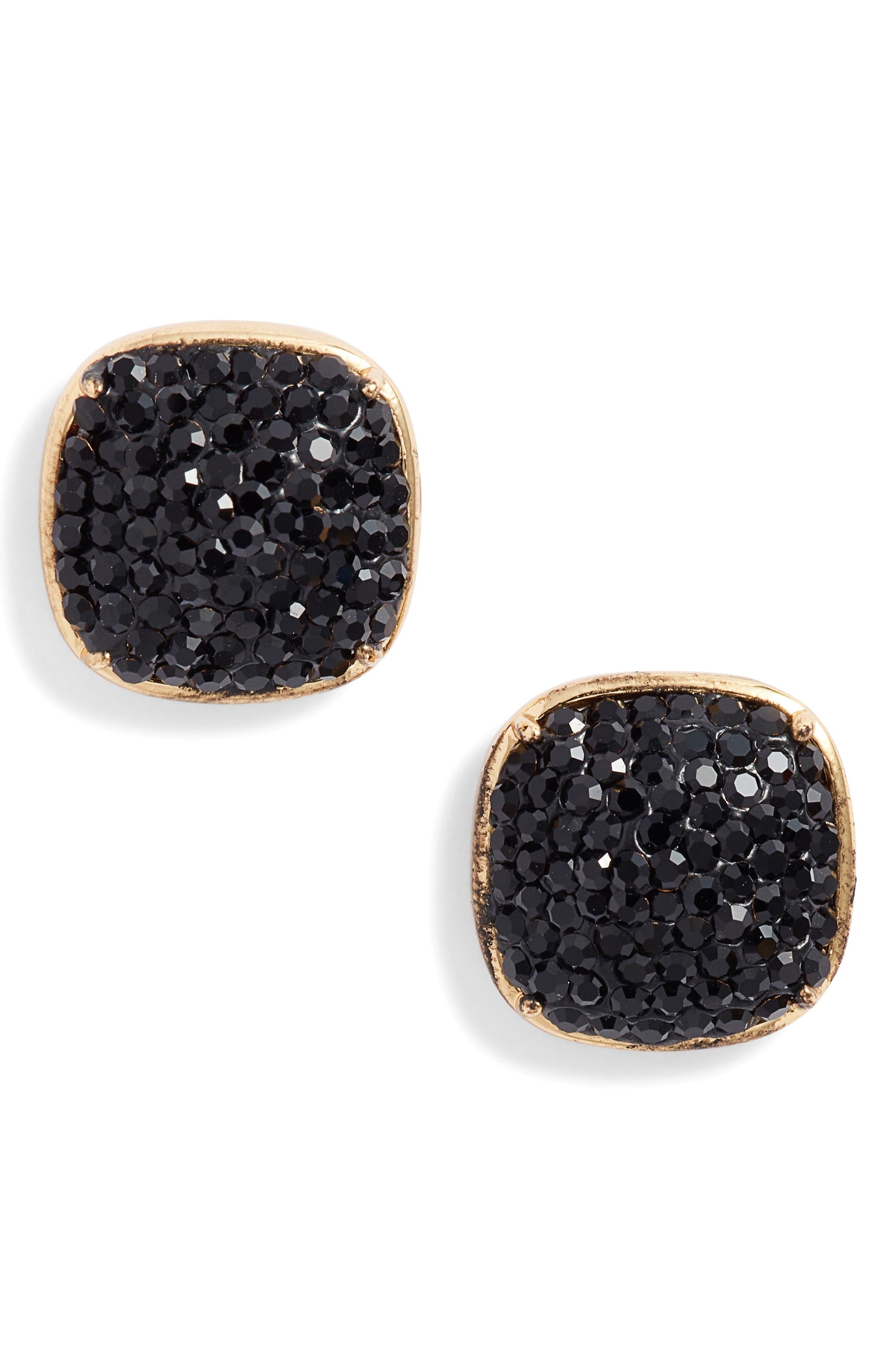 pavé small square stud earrings, Main, color, JET