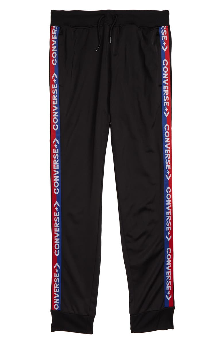 CONVERSE Track Pants, Main, color, BLACK/ BLUE