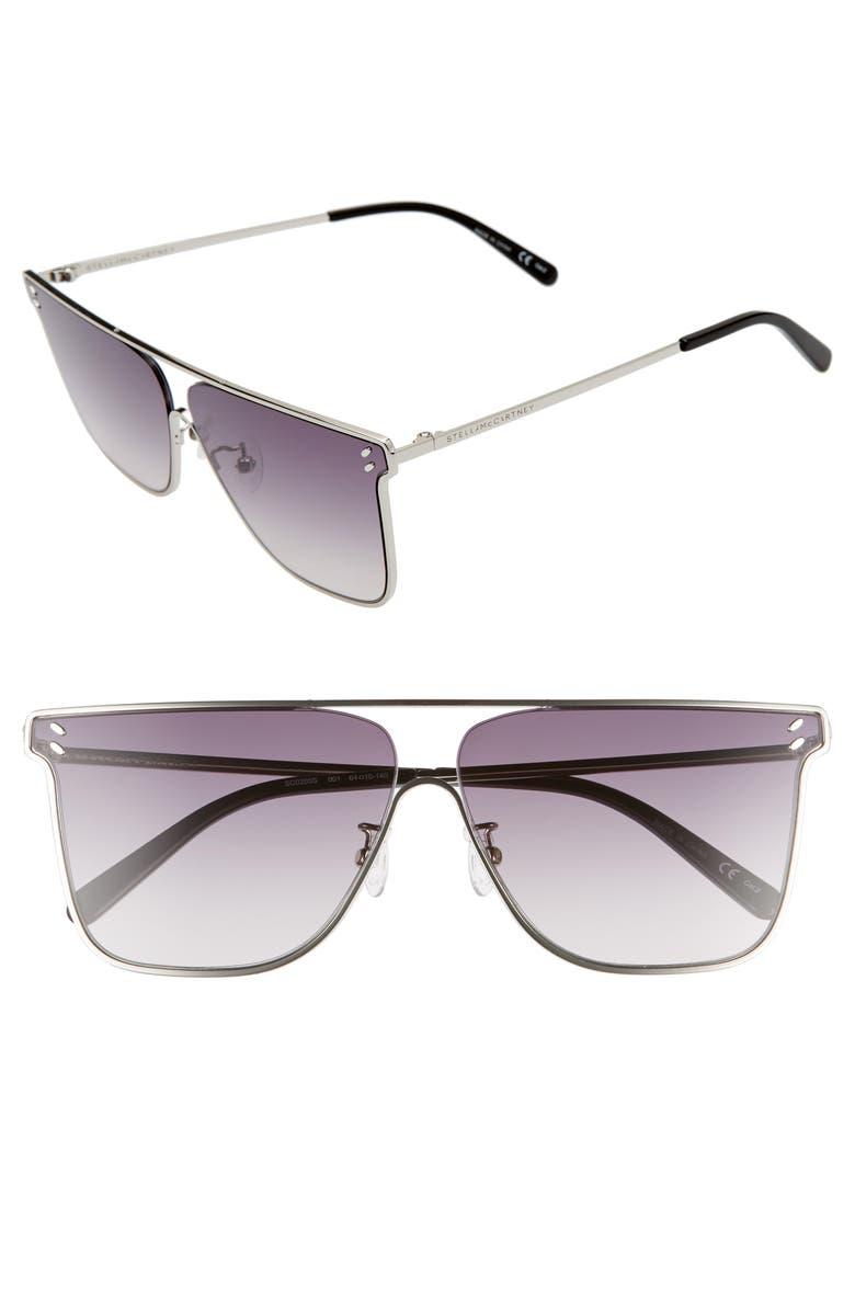 STELLA MCCARTNEY 64mm Gradient Oversize Flat Top Aviator Sunglasses, Main, color, 040