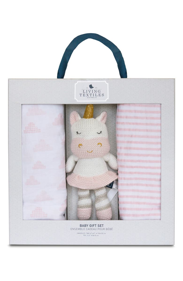 LIVING TEXTILES Baby Bento 2-Pack Swaddle Blankets & Kenzie Stuffed Animal Gift Set, Main, color, PINK