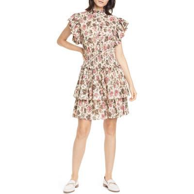 La Vie Rebecca Taylor Chouette Floral Ruffle Cotton Blend Minidress, Beige