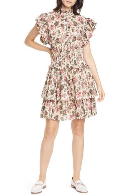La Vie Rebecca Taylor Dresses CHOUETTE FLORAL RUFFLE COTTON BLEND MINIDRESS