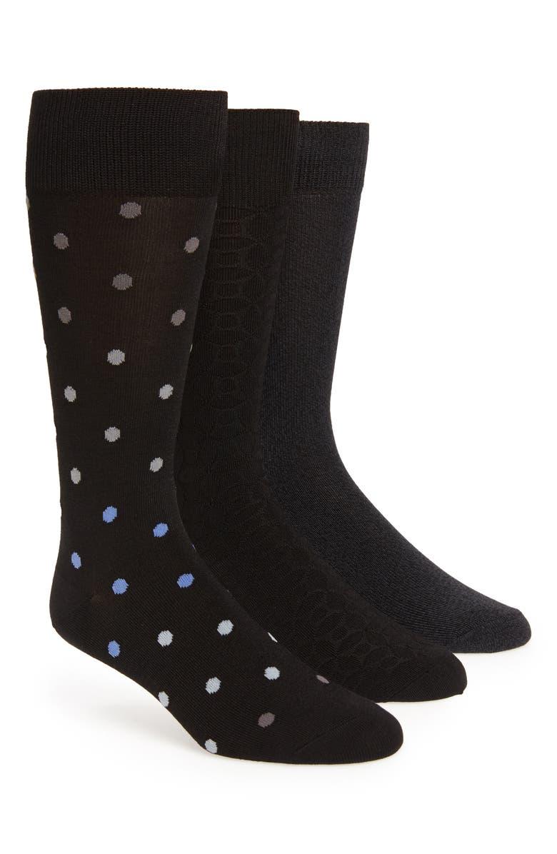 NORDSTROM MEN'S SHOP Ultrasoft Assorted 3-Pack Socks, Main, color, BLACK