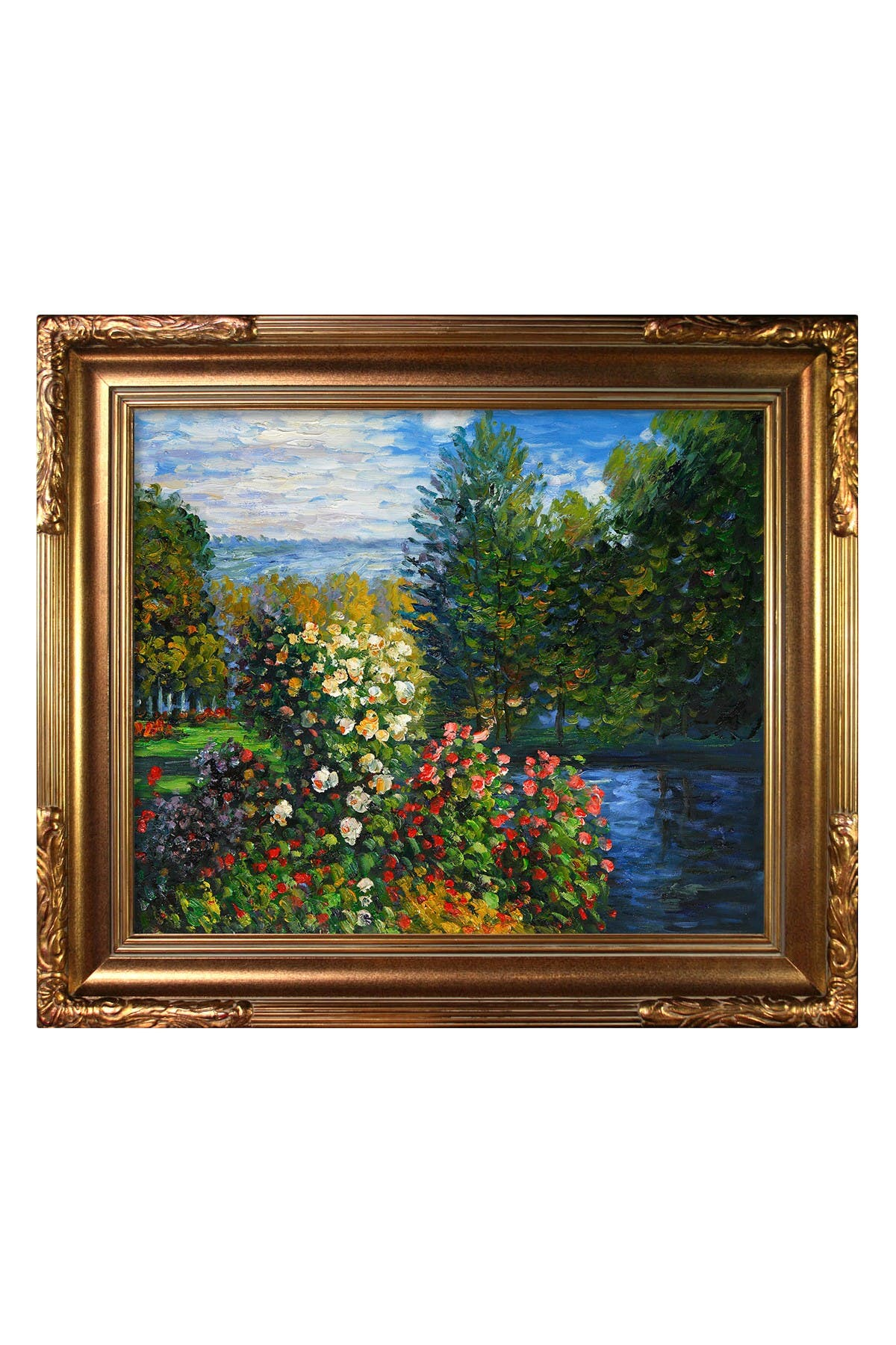 Overstock Art Corner of the Garden at Montgeron with Florentine Gold Frame , 27\\\