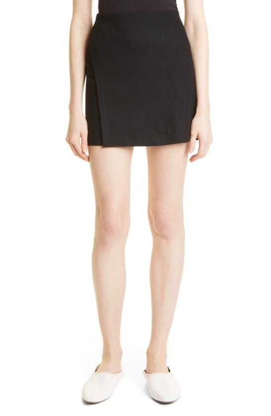 Vince Womens Birch-114bir High-waist A-line Wool-blend Mini Skirt M In Black