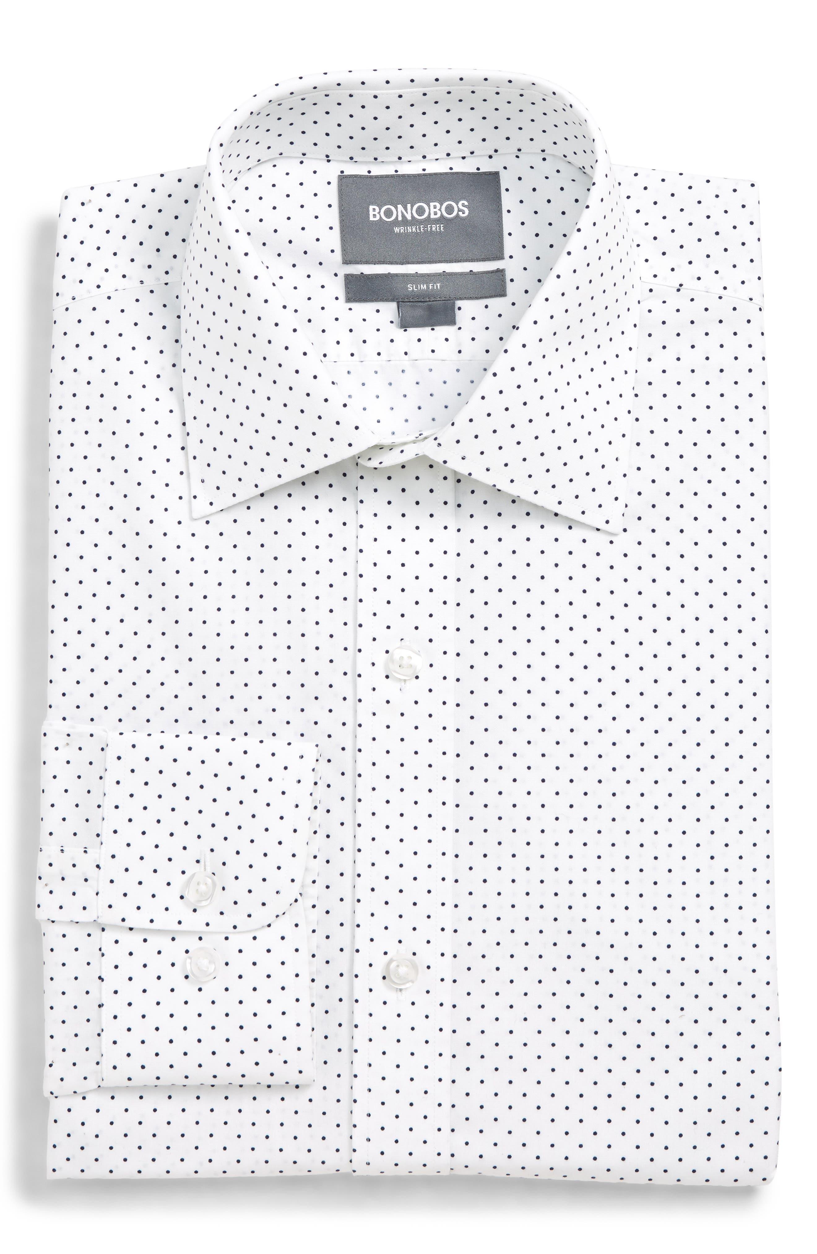 Image of Bonobos Pin Dot Print Trim Fit Dress Shirt
