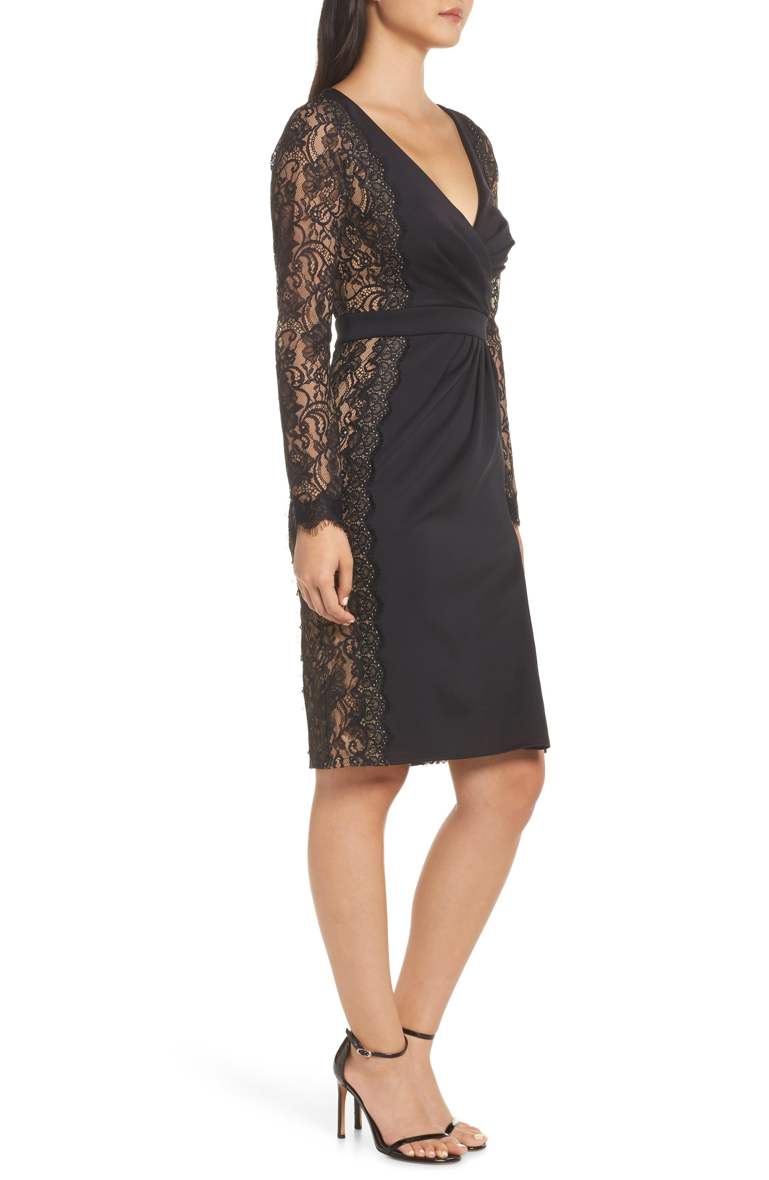 ,                             Long Sleeve Neoprene & Lace Cocktail Dress,                             Alternate thumbnail 4, color,                             001