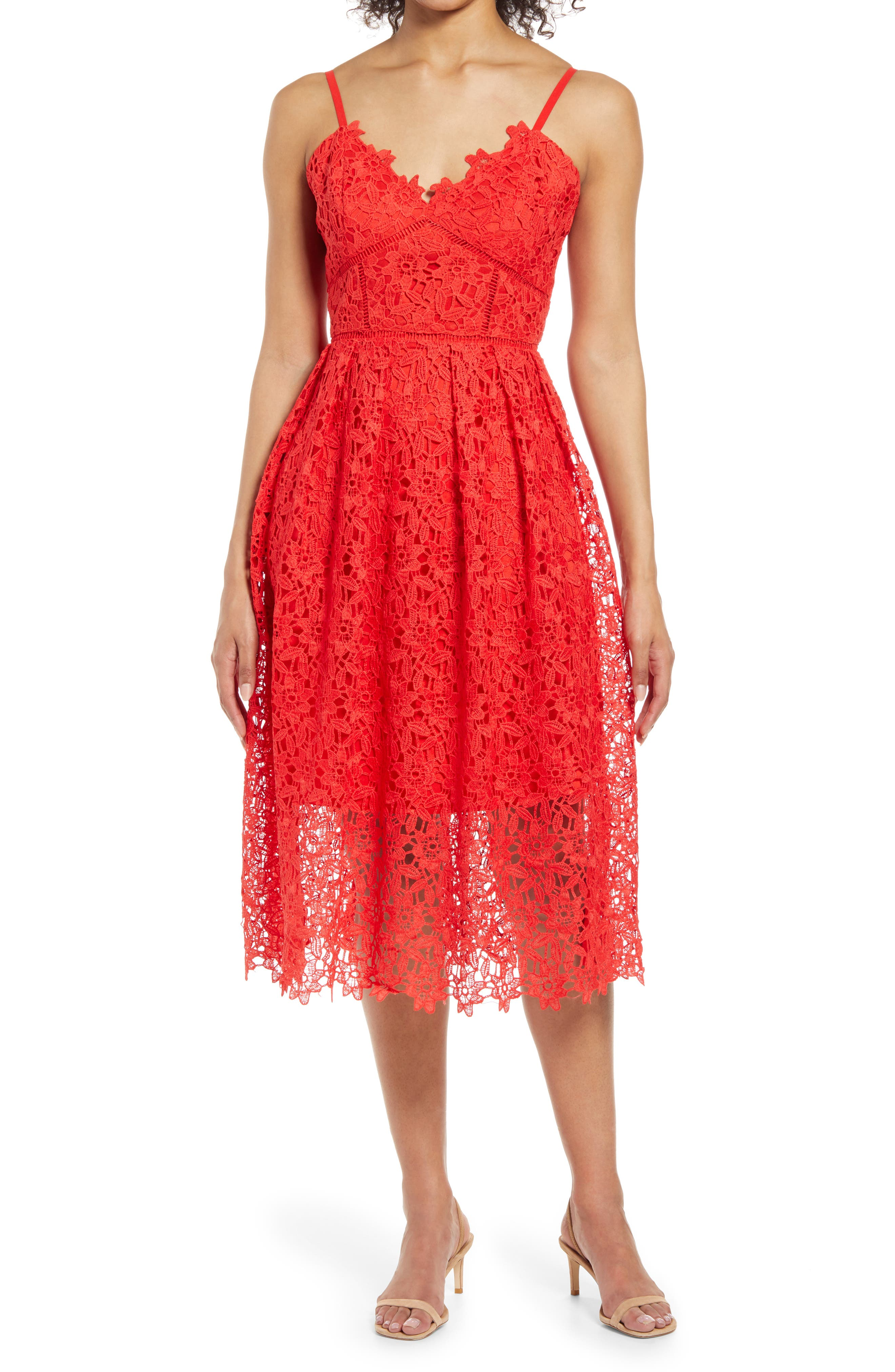 Crochet Lace Fit & Flare Dress