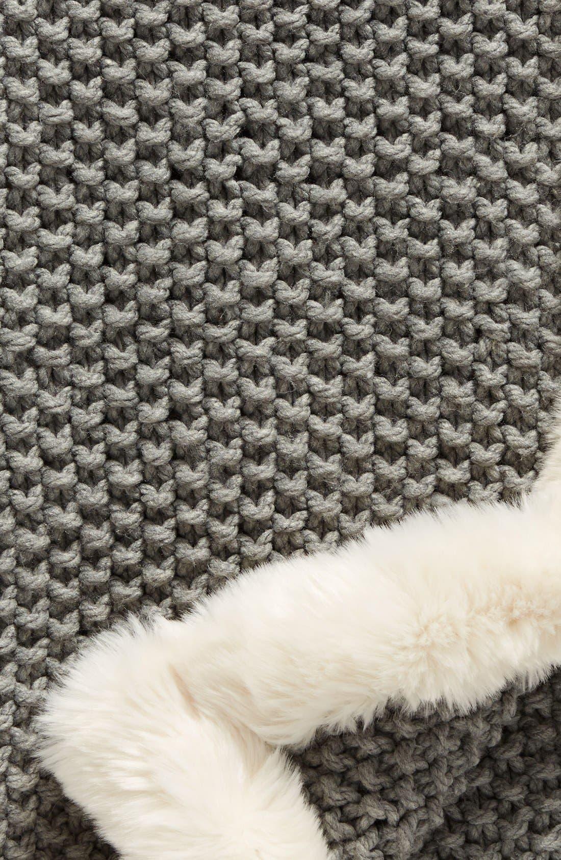 ,                             Faux Fur Border Knit Throw,                             Alternate thumbnail 2, color,                             020