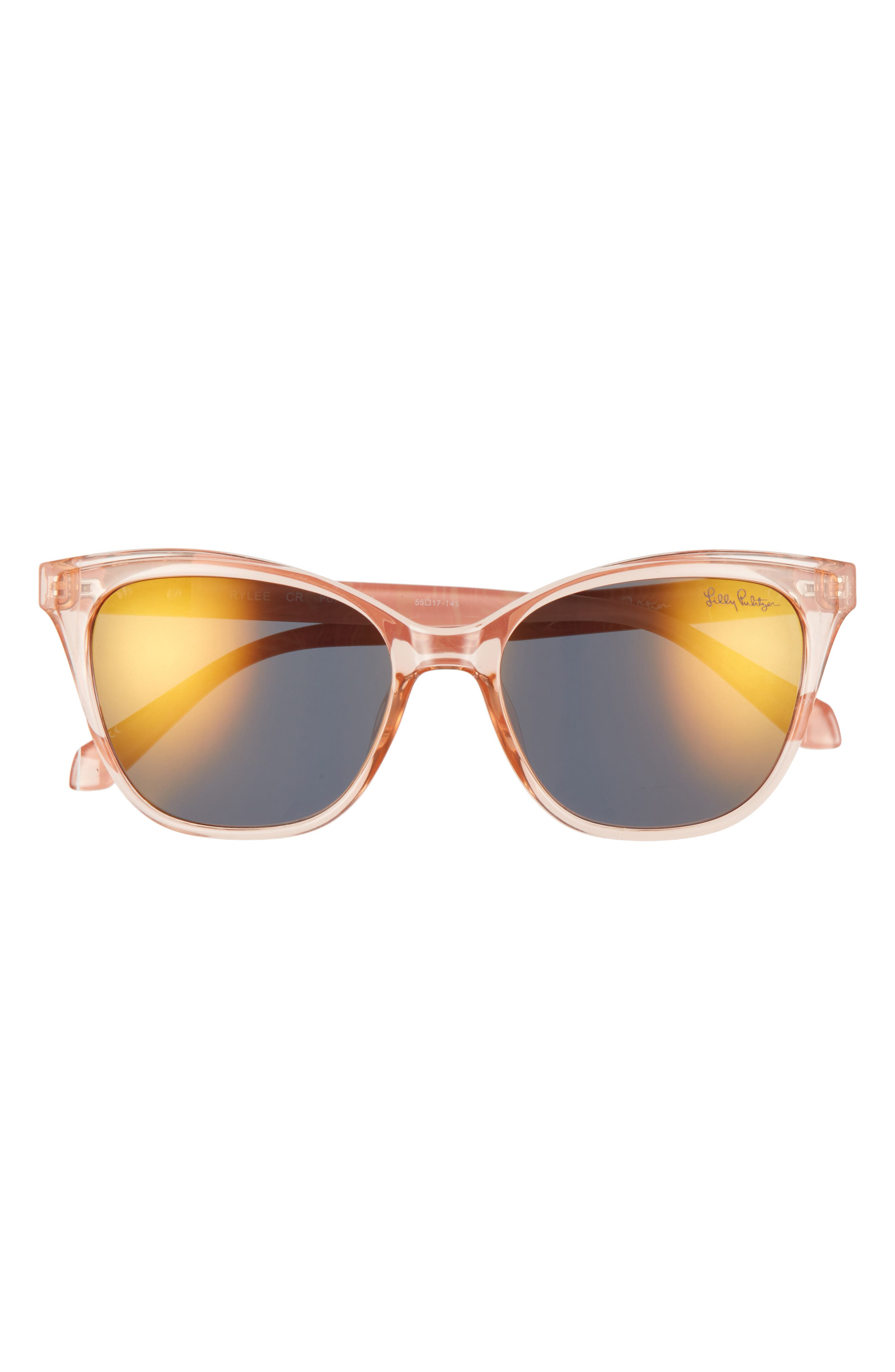 Bold cat-eye frames intensify the retro appeal of standout sunglasses fitted with glare-reducing polarized lenses. Style Name: Lilly Pulitzer Rylee 55mm Polarized Cat Eye Sunglasses. Style Number: 6104399. Available in stores.