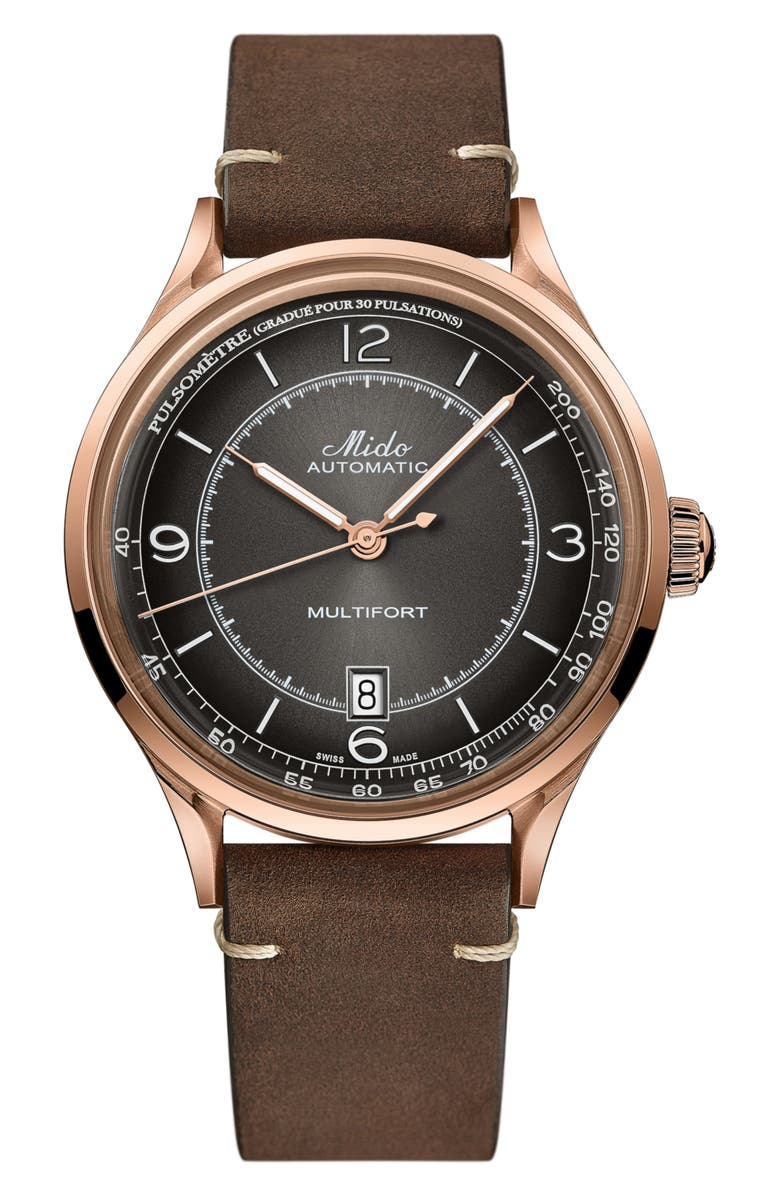 MIDO Baroncelli Automatic Bracelet Watch, 29mm, Main, color, BROWN/ BLACK/ ROSE GOLD