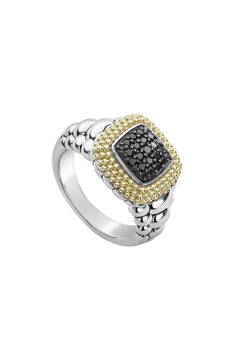 LAGOS Diamond Lux Black Diamond Square Ring, Main, color, SILVER/ GOLD/ BLACK DIAMOND