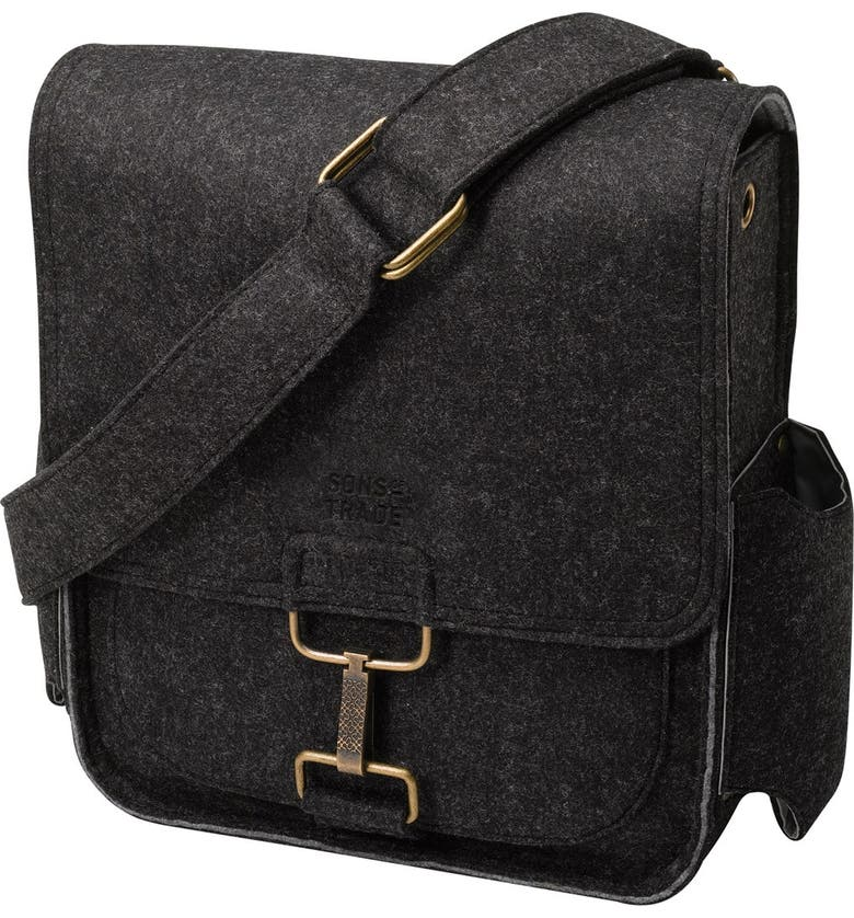 SONS OF TRADE 'Journey' Felt Messenger Bag with Water Resistant Lining, Main, color, 001