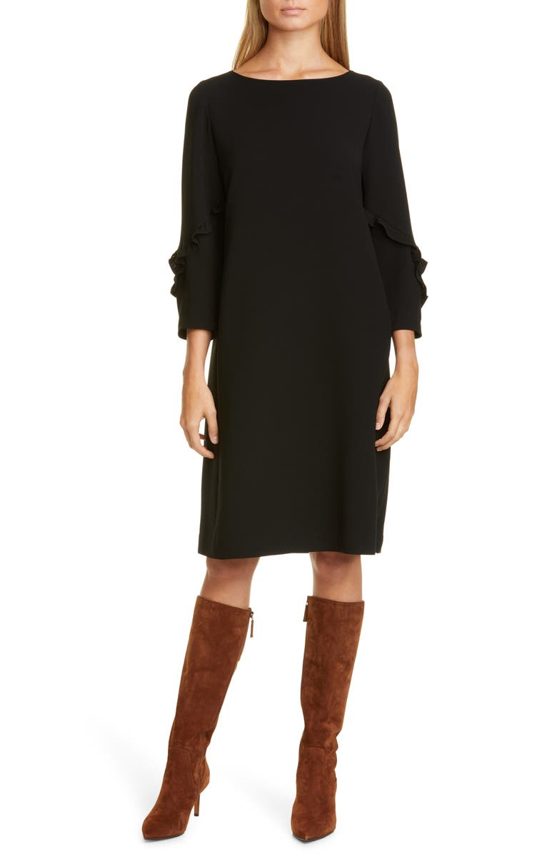LAFAYETTE 148 NEW YORK Abigail Finesse Crepe Dress, Main, color, BLACK