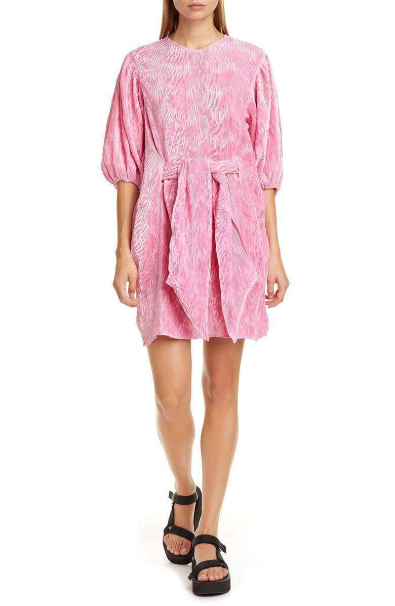 GANNI Short Pleated Satin Dress, Main, color, 506