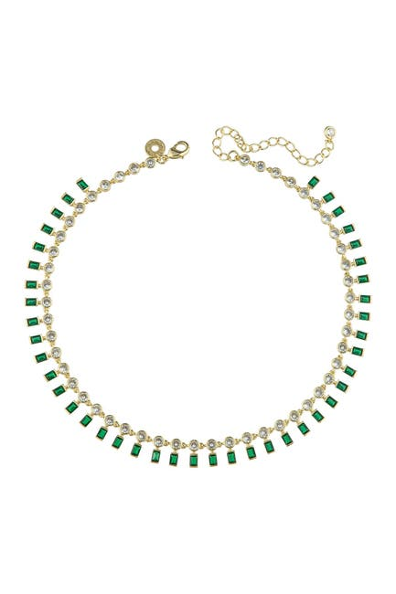 Image of CZ By Kenneth Jay Lane 14K Yellow Gold CZ Chain Collar Necklace