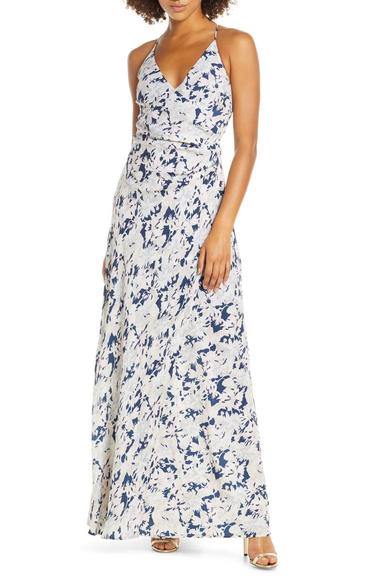 WAYF The Allison Faux Wrap Gown, Main, color, NAVY ALLOVER