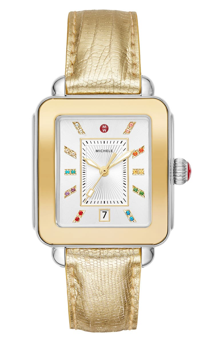 MICHELE Deco Sport Watch Head & Silicone Strap Watch, 34mm x 36mm, Main, color, GOLD/ WHITE/ GOLD