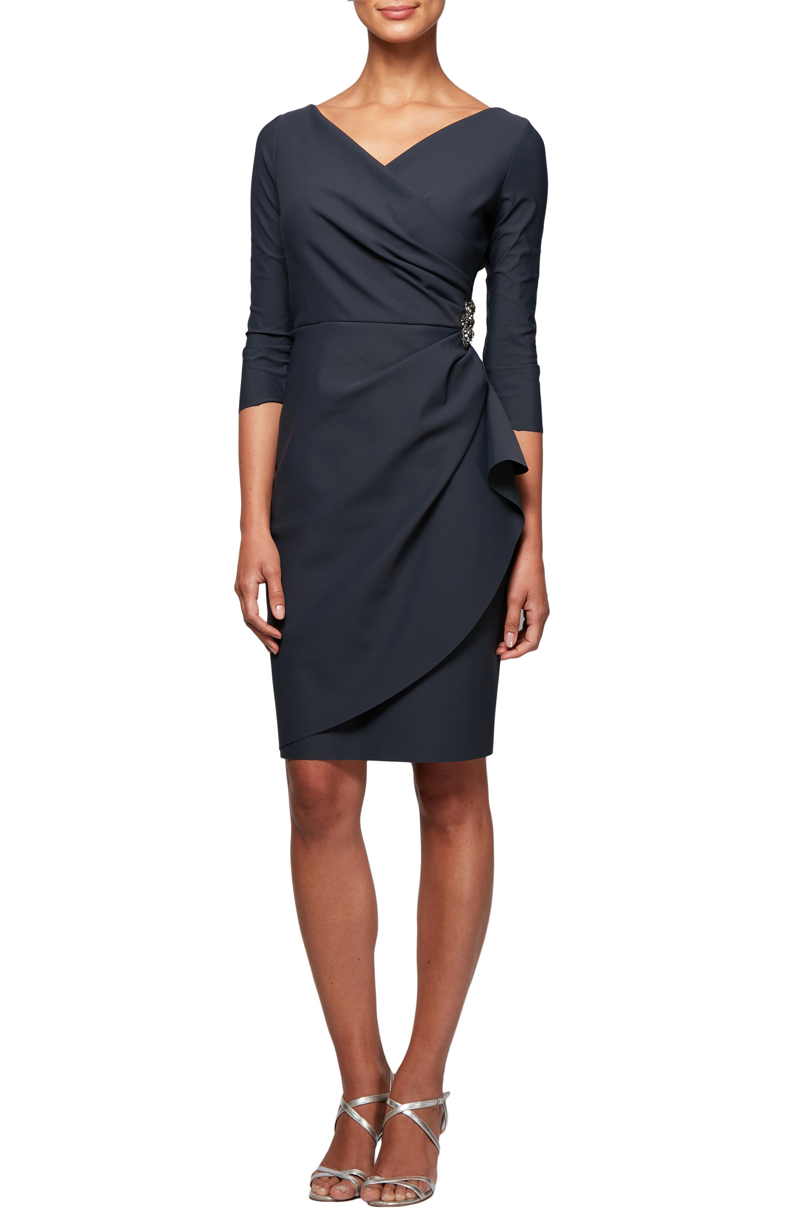 ,                             Embellished Ruched Sheath Dress,                             Main thumbnail 1, color,                             CHARCOAL