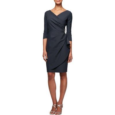 Plus Size Alex Evenings Embellished Ruched Sheath Dress, Grey