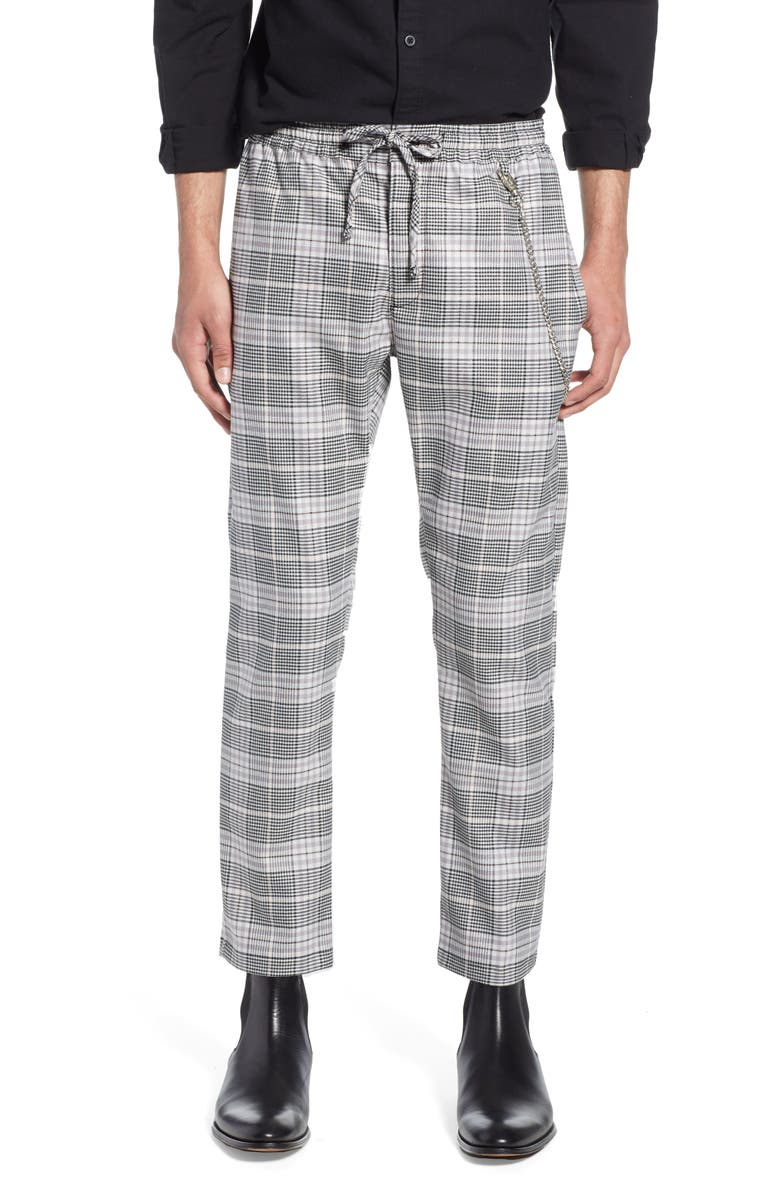 TOPMAN Stretch Skinny Fit Check Jogger Pants, Main, color, PINK