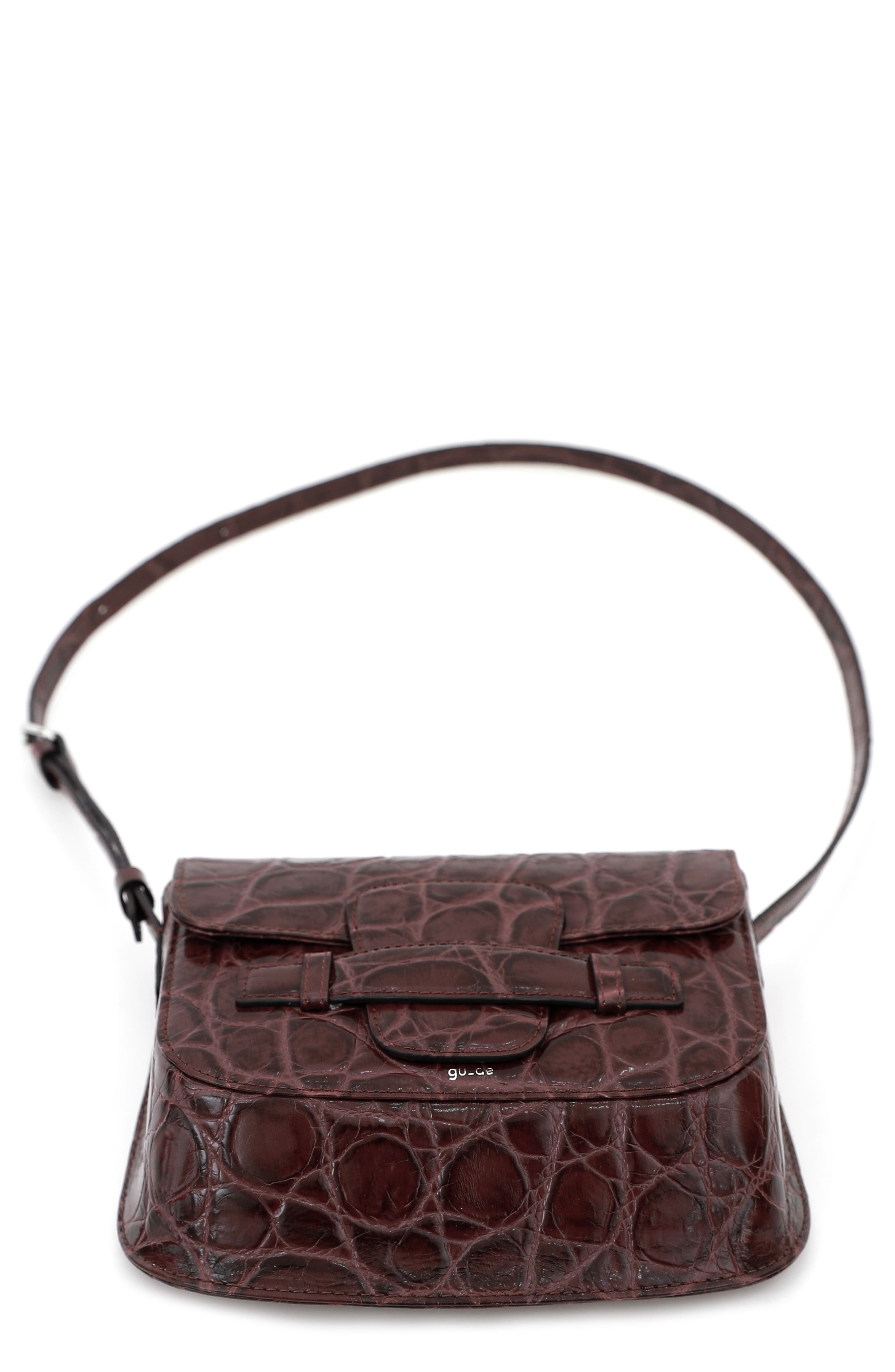 Gu-De Evie Croc Embossed Leather Shoulder Bag