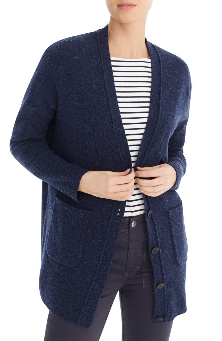 J.CREW Donegal Long Cardigan Sweater, Main, color, INDIGO DONEGAL