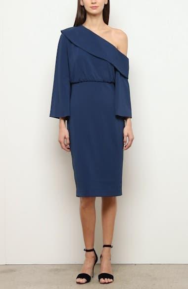 Badgley Mischka Asymmetrical Shoulder Long Sleeve Cocktail Dress, video thumbnail