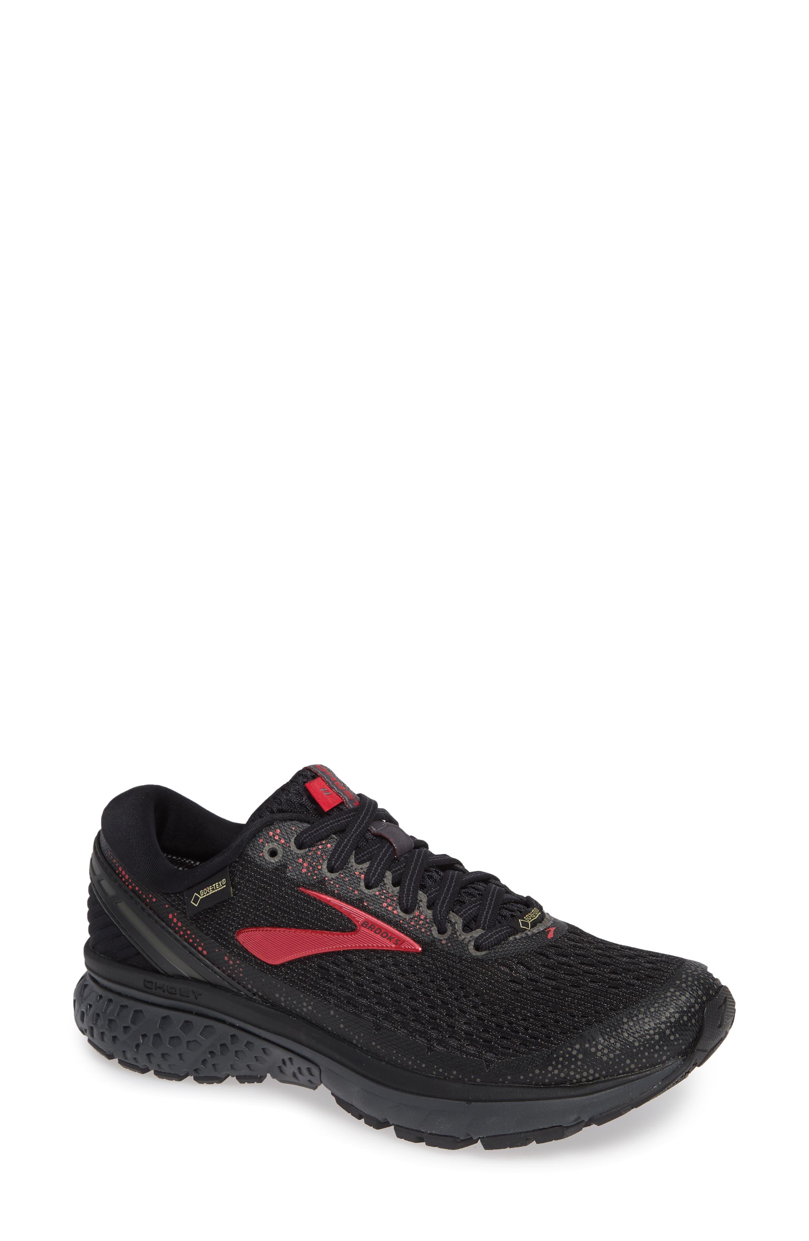 ,                             Ghost 11 GTX Gore-Tex<sup>®</sup> Waterproof Running Shoe,                             Main thumbnail 1, color,                             BLACK/ PINK/ EBONY
