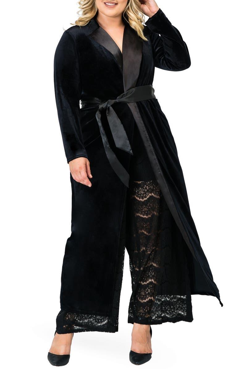 STANDARDS & PRACTICES Freya Wrap Coat Dress, Main, color, BLACK