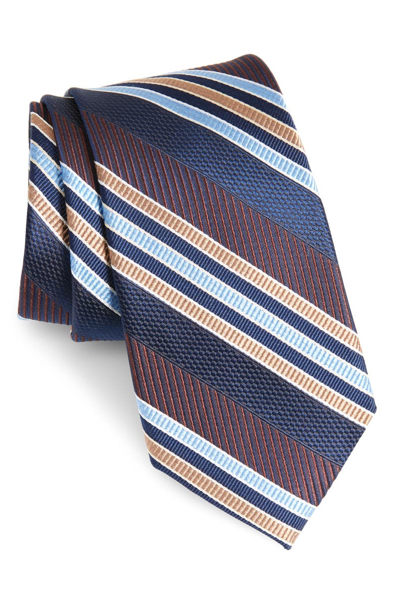 NORDSTROM MEN'S SHOP Northwest Stripe Silk Tie, Main, color, CHOCOLATE