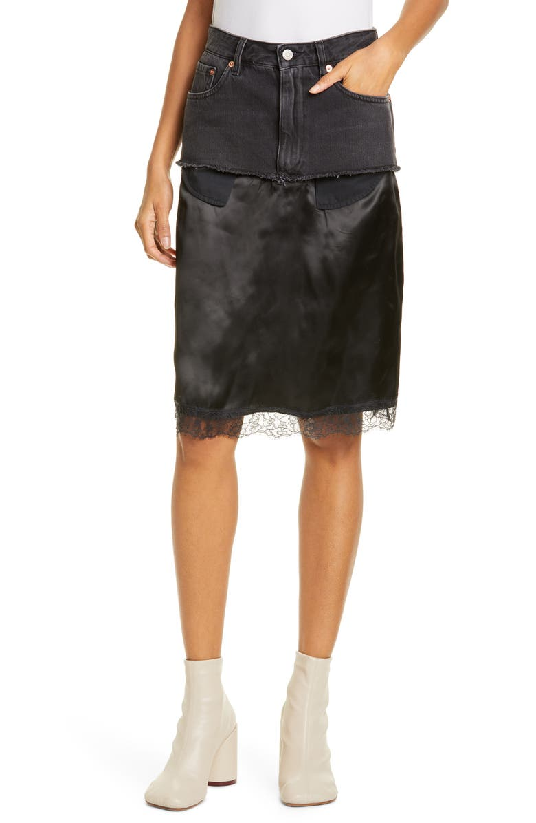 MM6 MAISON MARGIELA Satin Contrast Denim Skirt, Main, color, 001