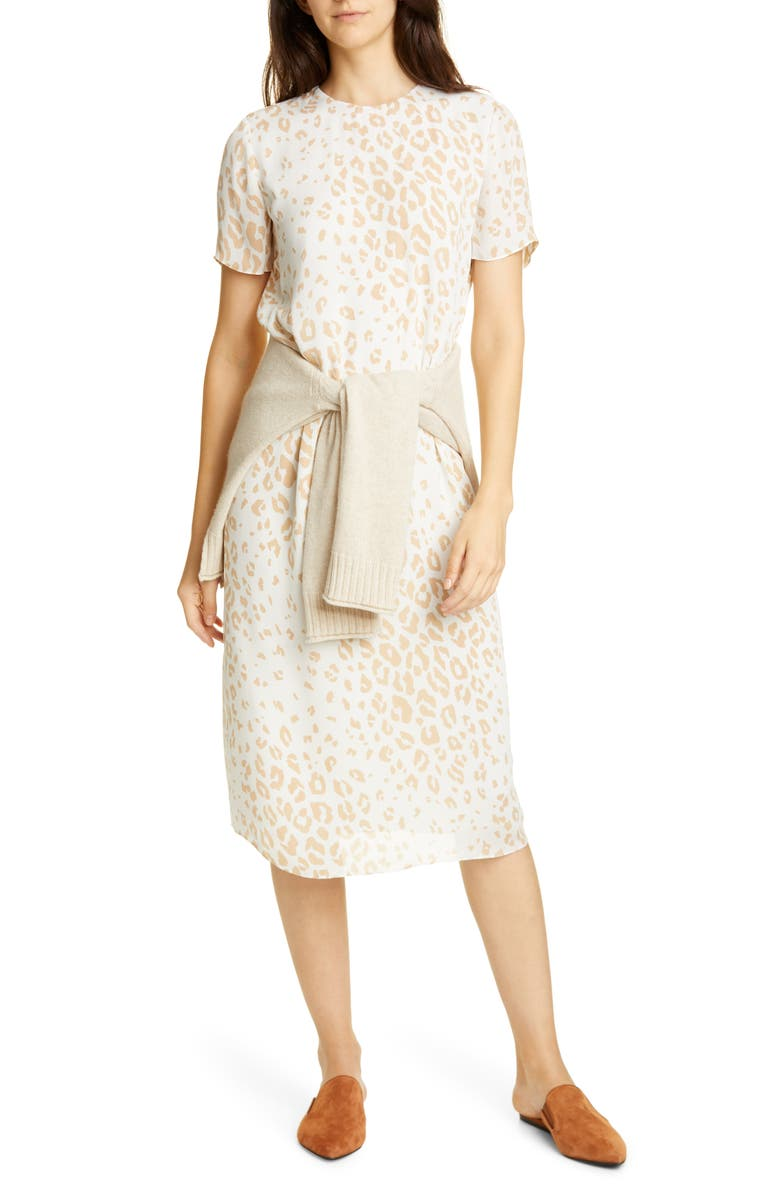 JENNI KAYNE Leopard Print Silk Shift Midi Dress, Main, color, SNOW LEOPARD