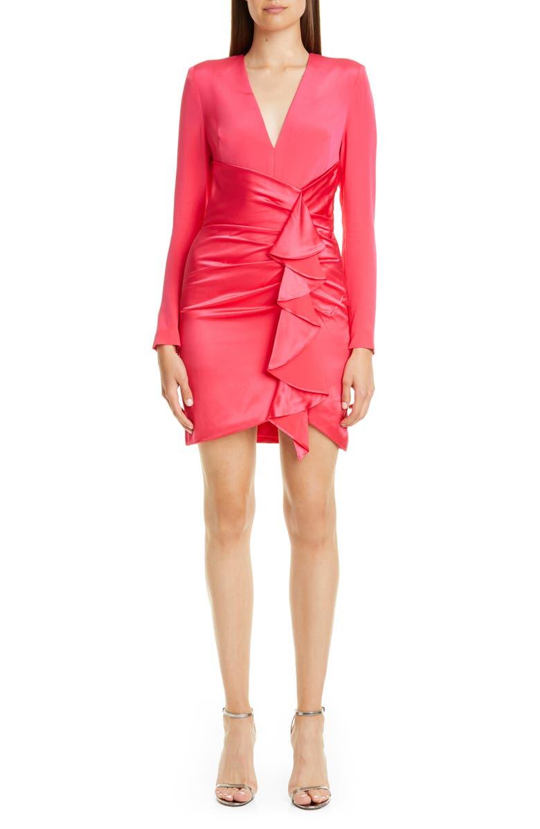 HANEY Long Sleeve Mix Silk Minidress, Main, color, HOT PINK