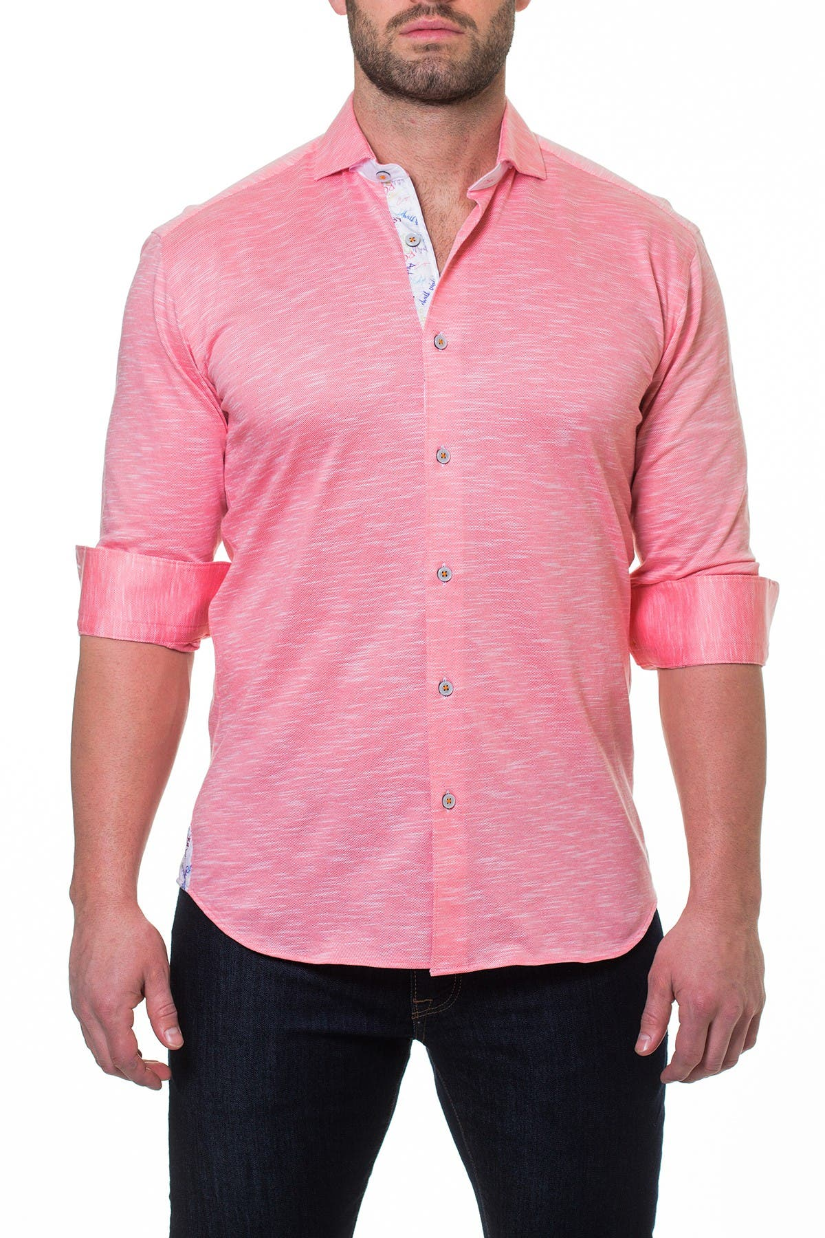 Image of Maceoo Wall Street Jersey Salmon Slim Fit Shirt