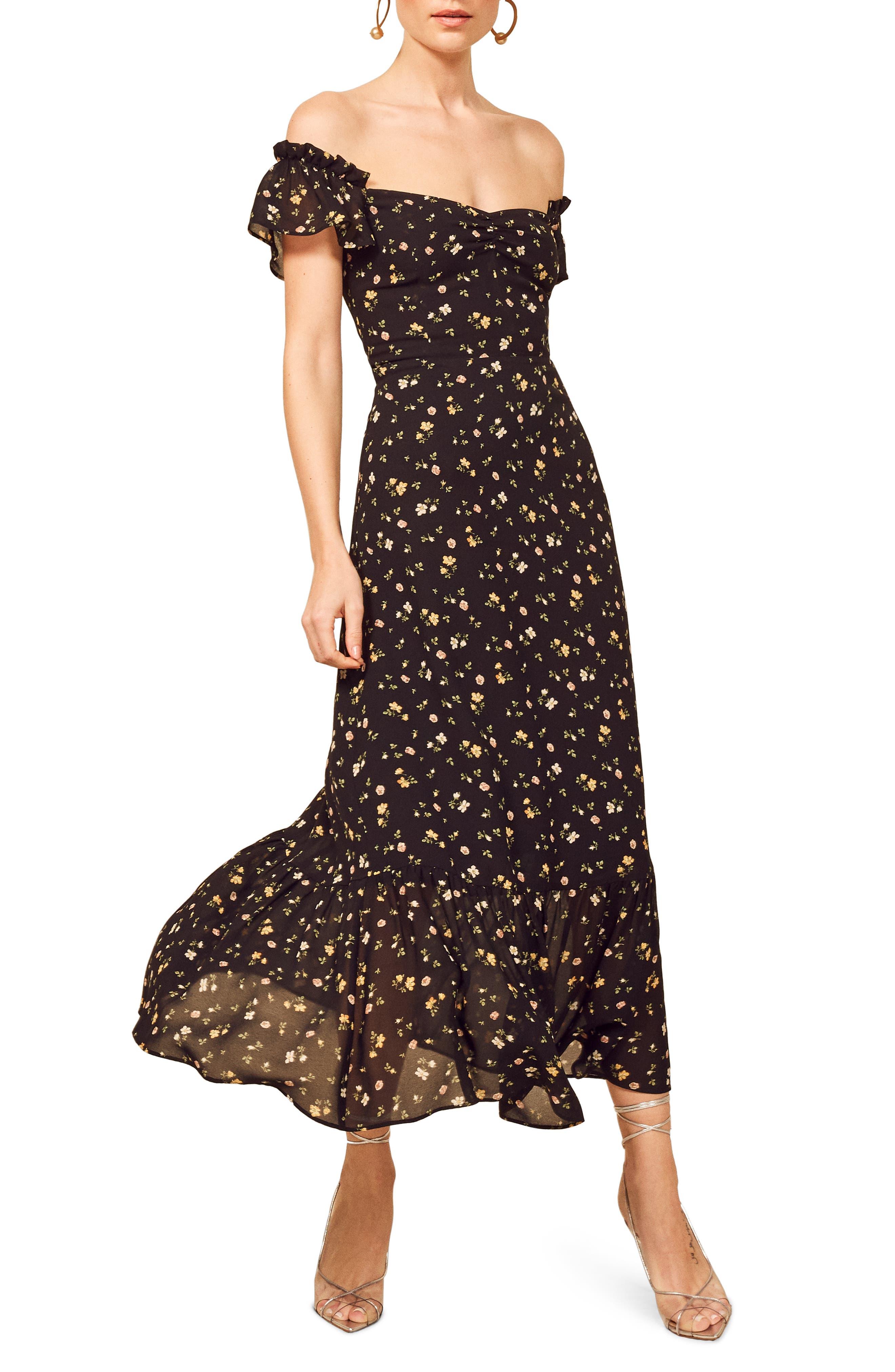Reformation Butterfly Midi Dress, Black
