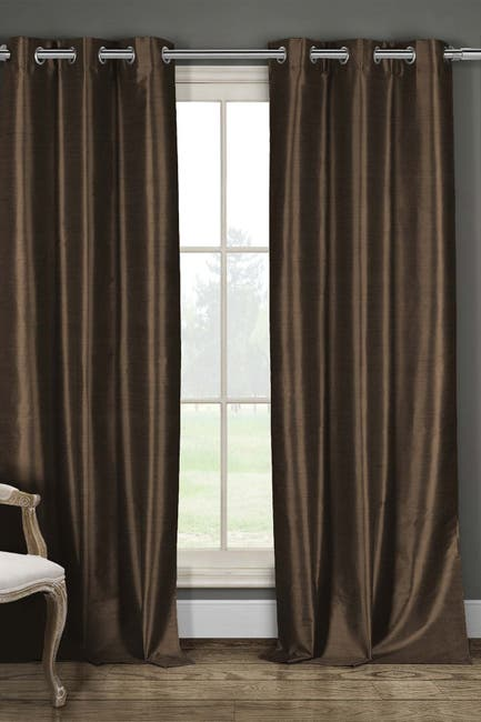 Image of Duck River Textile Daenary's Faux Silk Foamback Grommet Curtains - Set of 2 - Chocolate