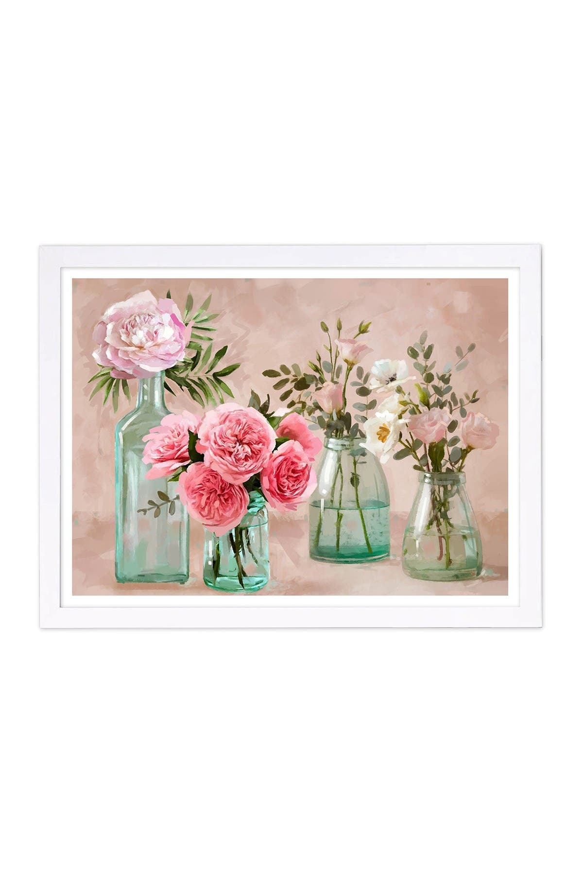 Wynwood Studio Glassy Blush Flowers Brown Framed Wall Art at Nordstrom Rack