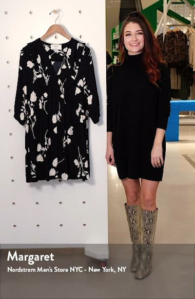 Pansy Print V-Neck Swing Dress, sales video thumbnail