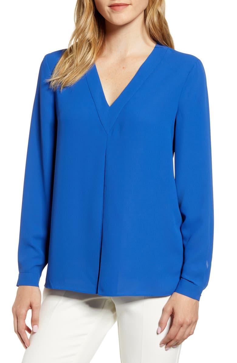 ANNE KLEIN Front Pleat Blouse, Main, color, CEZANNE BLUE