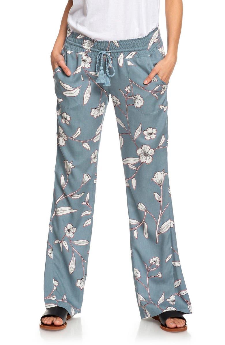 ROXY Oceanside Floral Pants, Main, color, TROOPER ALAPA