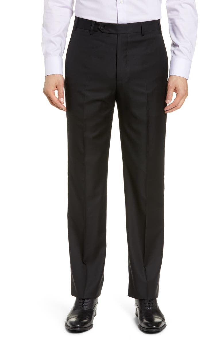 ZANELLA Todd Relaxed Fit Flat Front Solid Wool Dress Pants, Main, color, BLACK
