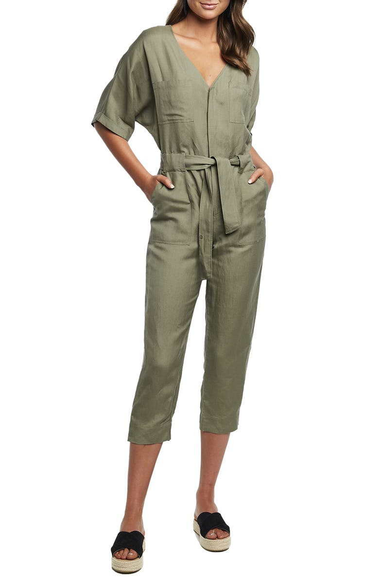 BARDOT Utility Jumpsuit, Main, color, KHAKI