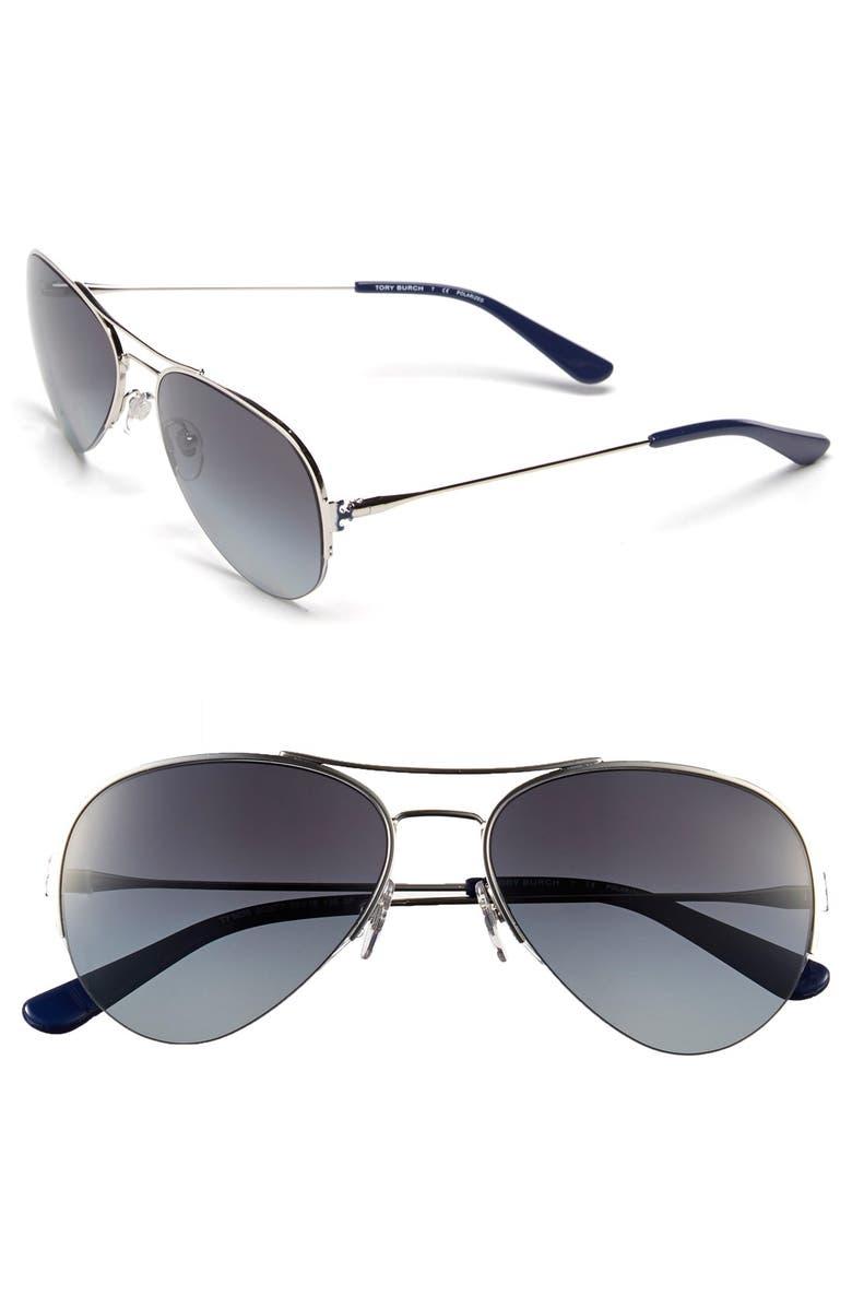 TORY BURCH 55mm Rimless Aviator Polarized Sunglasses, Main, color, 040