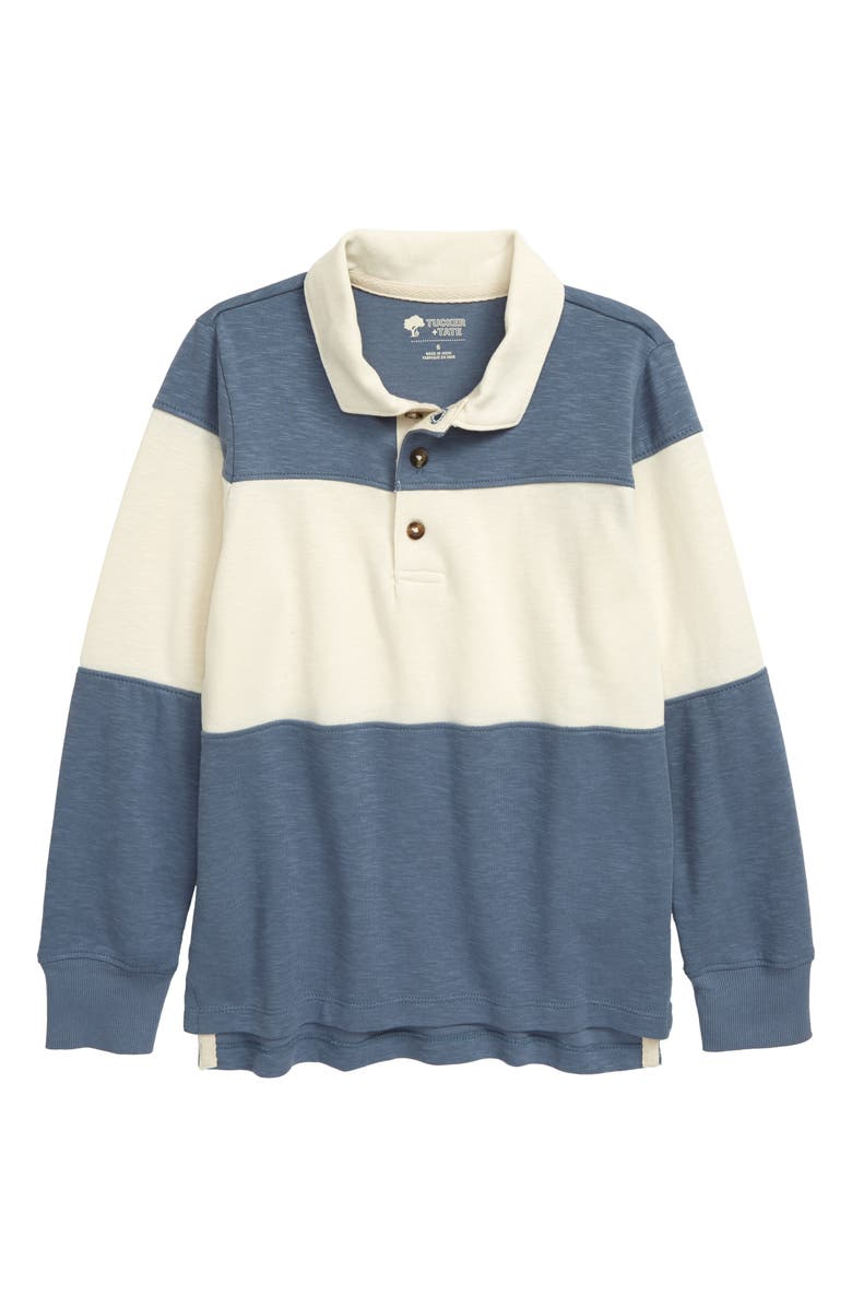 TUCKER + TATE Color Block Rugby Polo, Main, color, BLUE CHINOISE- IVORY