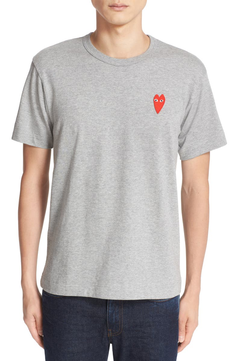 COMME DES GARÇONS PLAY Stretch Face Heart Slim Fit T-Shirt, Main, color, TOP DYED GREY