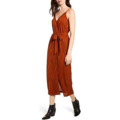 Minkpink Strappy Wrap Midi Dress, Orange